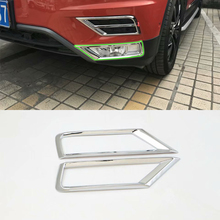 Car Accessories Exterior 2pcs ABS Chrome Front Down Fog Light Lamp Cover Trim For Volkswagen Tiguan L 2016 Styling