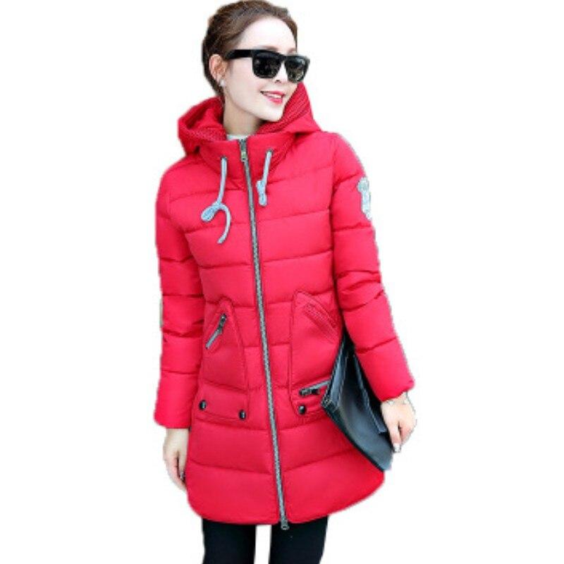 YSMARKET XL-7XL veste d'hiver femmes à capuche moyenne longue grande taille dames décontracté hauts épais coton manteaux chaud neige porter H1623