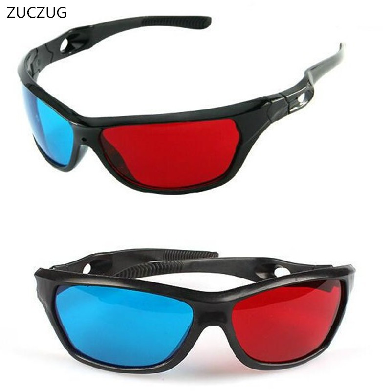 ZUCZUG new Black Frame Universal 3D Plastic glasses/Oculos/Red Blue Cyan 3D glass Anaglyph 3D Movie Game DVD vision/cinema image