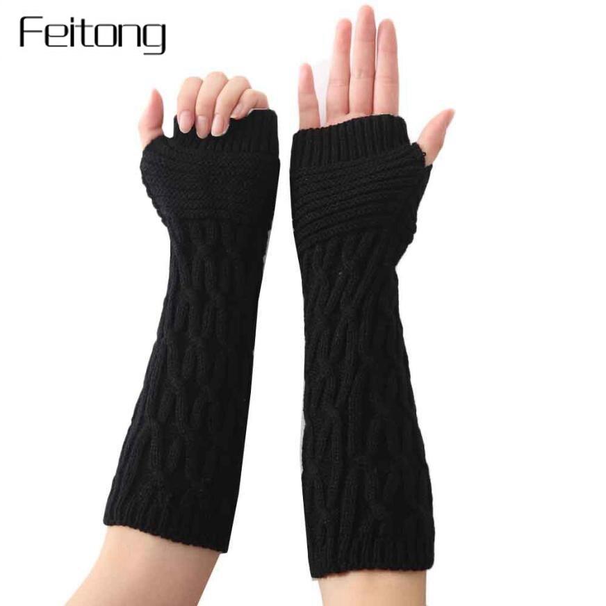 Damen-accessoires Handschuh-fingerlose Stricken Twist Winter Warme Weiche Mode Wärmer Dame Handschuhe Praktische Casual Handschuhe Lange Arm Frauen Herbst
