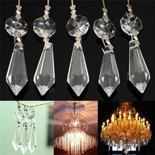 10X for Curtains Partitions Entrance Loose Beads Chandelier Clear Glass Crystal Lamp Prism Hanging Drop Pendant Set 38mm+14mm(China)