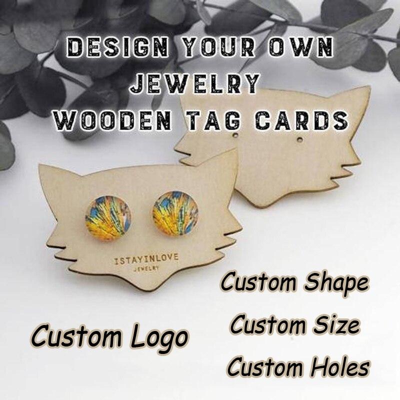 Takı ve Aksesuarları'ten Takı Ambalajlama ve Sergileme'de Özel Logo Tasarım Sizin Şekil Boyutu Lazer Kesim Ahşap Küpe Kartları Kolye Ekran Tutucu Standı Takı Ambalaj Etiketleri WTG'da  Grup 1