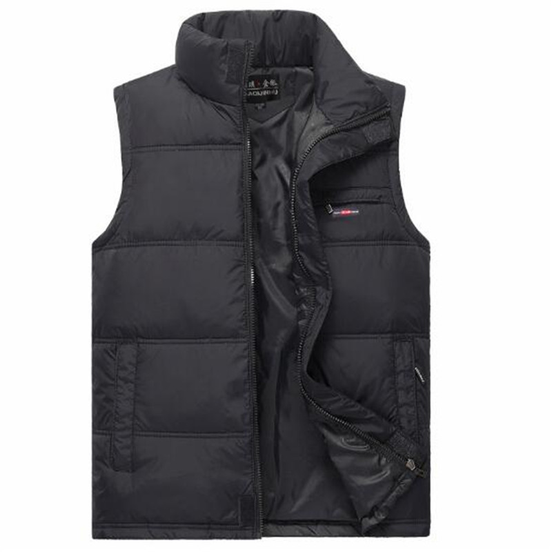 Men's Warm Sleeveless Vest Winter Fashion Casual Cotton Padded Waistcoat Male Winter Thickening Jacket Warm Outwear A5067