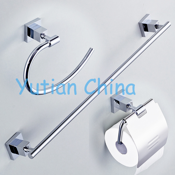 free shippingsquare brass chrome bathroom accessories setrobe hookpaper holder