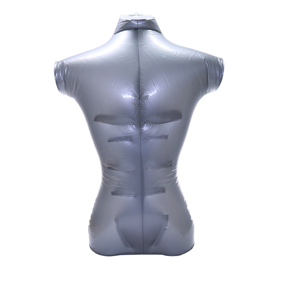 Male Model Inflatable Form Mannequin Hanging Display Plastic PVC Silver Tool