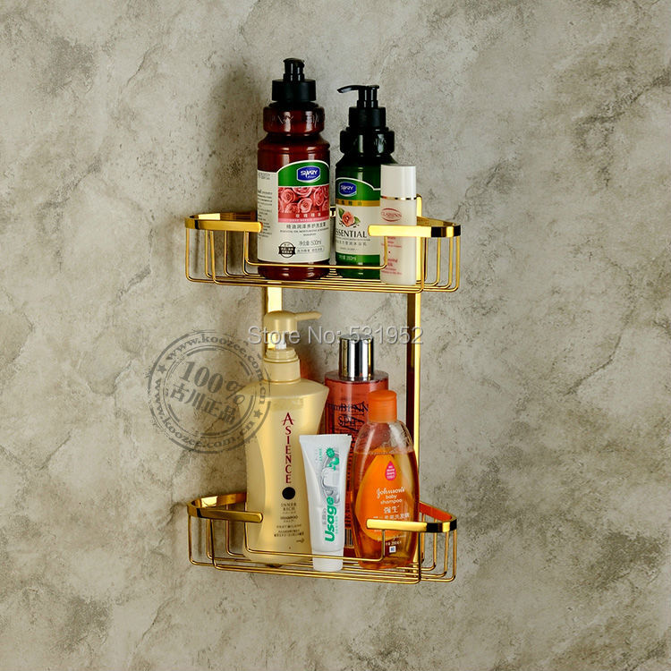 Free Shipping Wall Mounted Gold Polished Brass Bathroom Accessories / Soap / Sponge & Body Wash Shower Dual Tier Storage Basket free shipping polished chrome finish new wall mounted waterfall bathroom bathtub handheld shower tap mixer faucet yt 5333