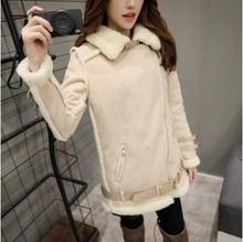 2016 Winter Brand Plus Size Suede Lamb Wool Lapel Bomber Wadded Jacket Abrigos Mujer Women Designer