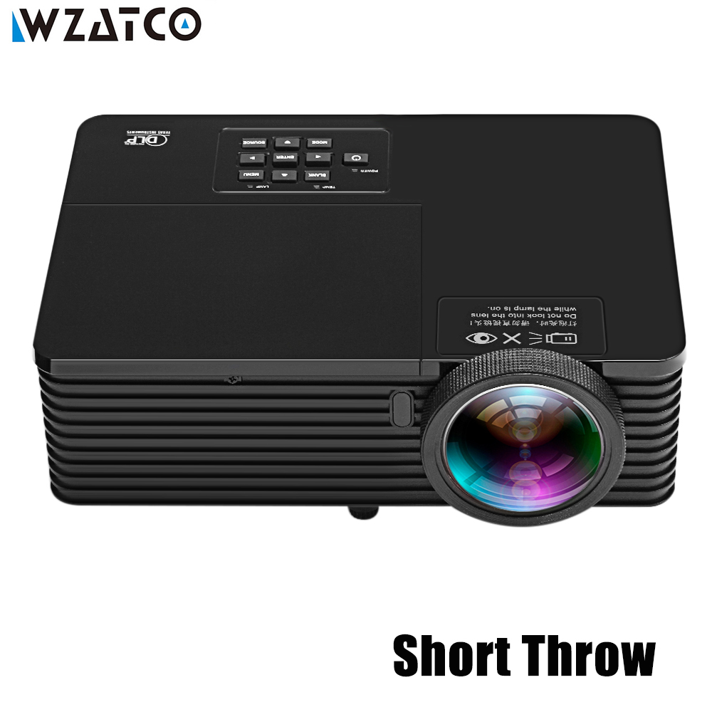 WZATCO 6000Lumen Business Meeting Education Daylight Support Full HD 1080P by HDMI 3D DLP Short Throw Projector Beamer Proyector цена