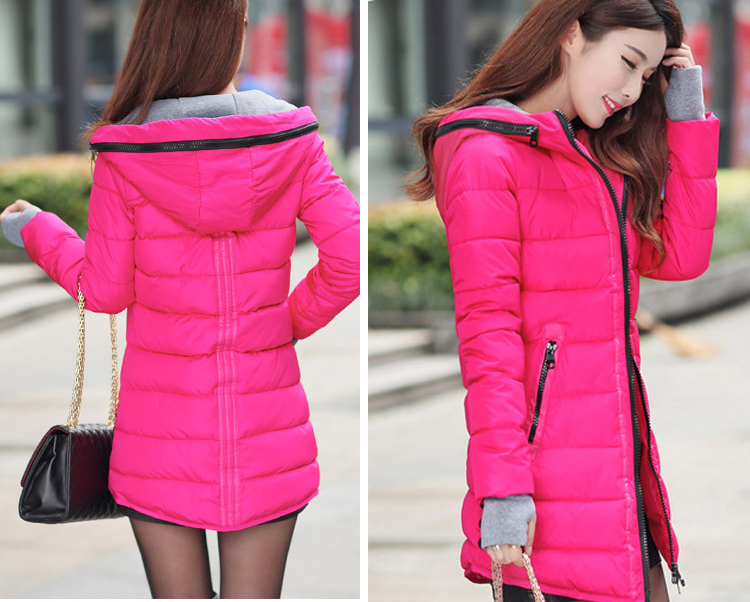 HTB1RDgdX4sIL1JjSZFqq6AeCpXaG 2019 women winter hooded warm coat slim plus size candy color cotton padded basic jacket female medium-long jaqueta feminina