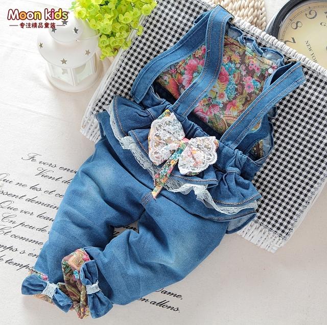 Venda! o envio gratuito de 2017 primavera outono Do Bebê meninas arco calças jeans jardineiras macacão infantil, meninas macacão, Macacão