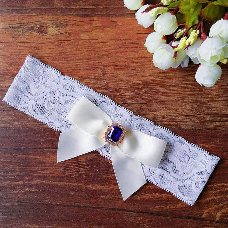Personalised with diamante buckle. Blue Bridal Garter Embroidered tulle lace
