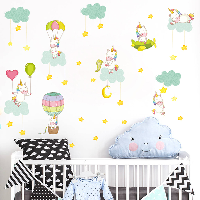 % Unicorn Air Balloon Wall Stickers For Kids Room TV