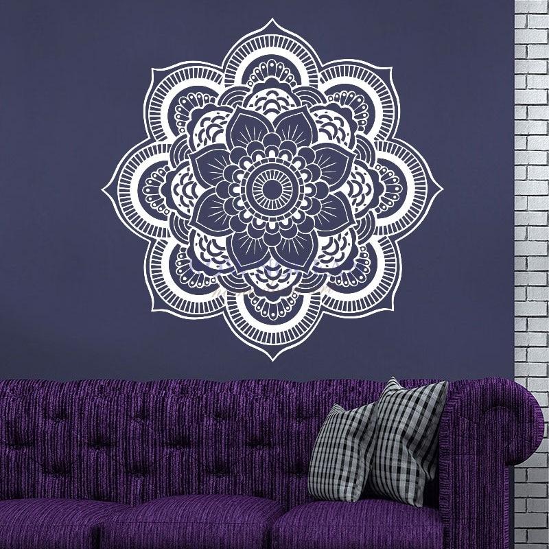 57x57CM 만다라 요가 벽 스티커 비닐 이동식 방수 기호 Mehndi OM Muraux 벽화 홈 데코레이션 가정용 제품 MA-09