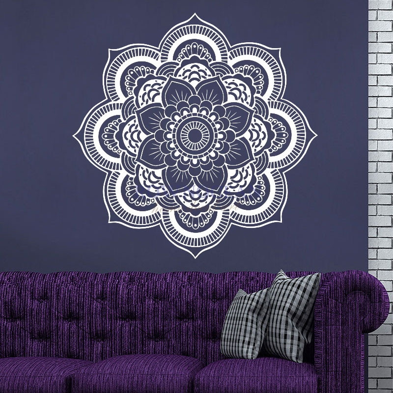 57x57CM Mandala Yoga Wall Sticker Vinyl Removable Waterproof Symbol Mehndi OM Muraux Mural Home Decor Household Products MA-09