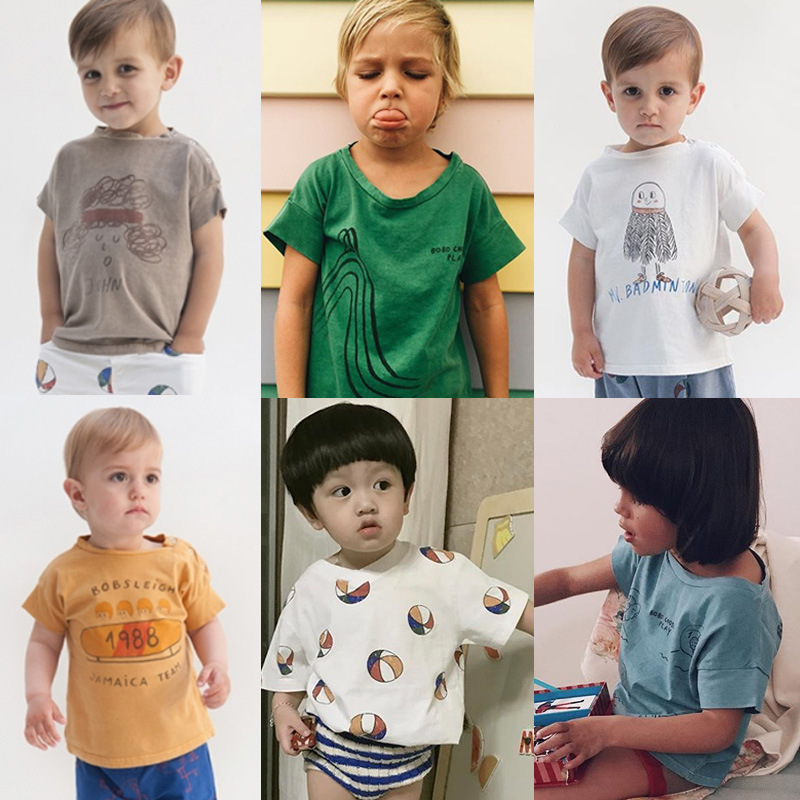 New Bobo Choses Kids Baby Cotton T-shirt Tops Boys Girls Tee t shirt Children tshirt Toddlers Baby Clothing Summer Clothes 2016 love kids baby boys summer sleeveless t shirt cotton tops clothes