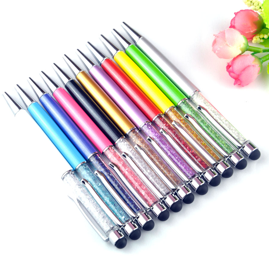 bilder für 1000 teile/los 11 Farben Stylus Stift Kristall 2 in1 Touchscreen Stylus Kugelschreiber Für iPhone iPad Samsung Galaxy Tablet PC Telefon