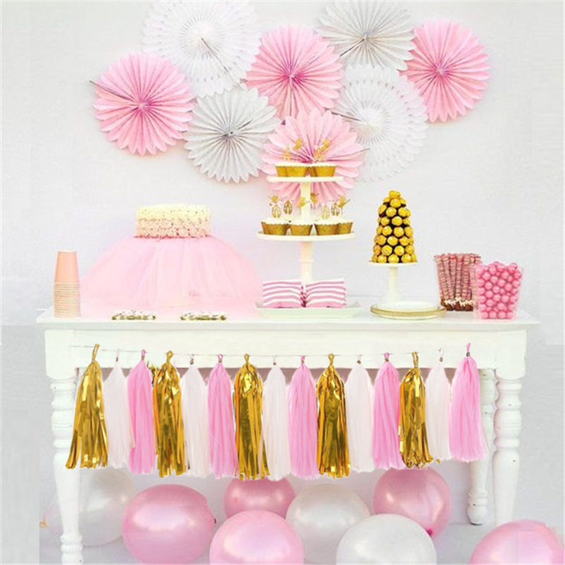 Image 2 - 15pcs Paper Tassel Kids Birthday Party Supplies Table Decoration Unicorn Baby Boy Girl Adult Frozen Princess Parties Decorations-in Disposable Party Tableware from Home & Garden