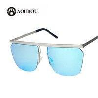 AOUBOU Diseñador de la Marca de Gran Tamaño Cuadrados gafas de Sol Rojas Mujeres de la Aleación Azul Lente de Cristal Gafas de Sol Para Dama Lunette de Soleil 7107