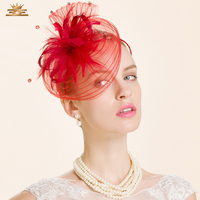 Fashion Ladies Red Flower Sinamay Hat Linen Bridal Pillbox Hats with Veils for Women Wedding Dress Accessories B 8229