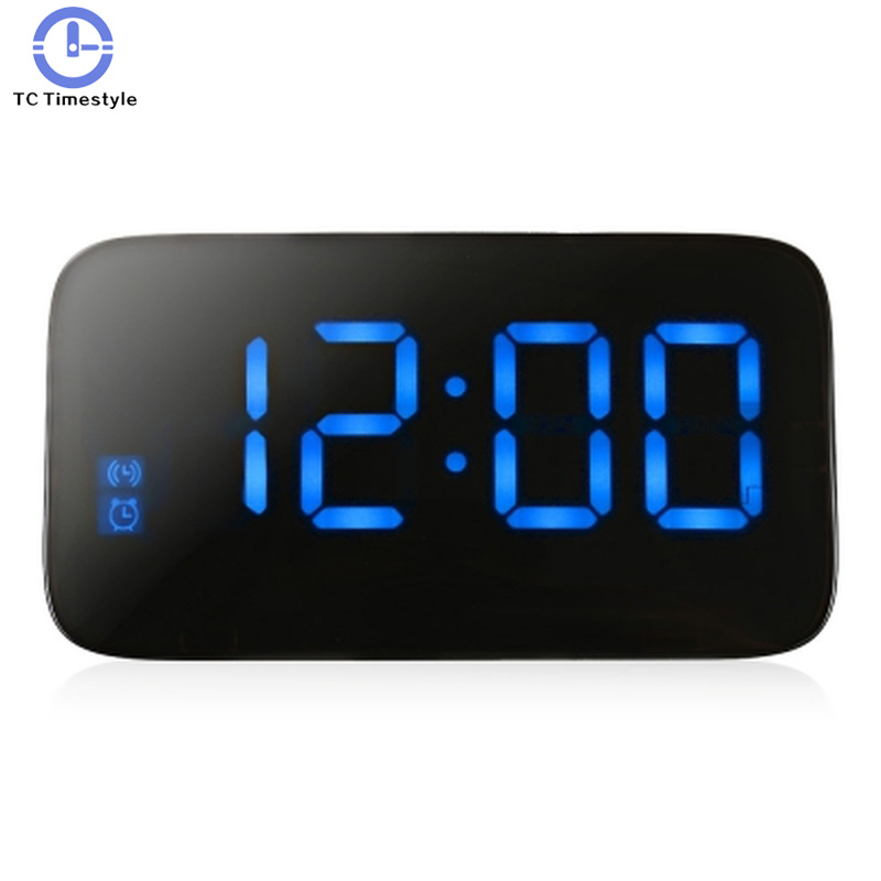 LED Display Alarm Clock Large Voice Control USB Electronic Snooze Function with Backlight Function Desktop Digital Home
