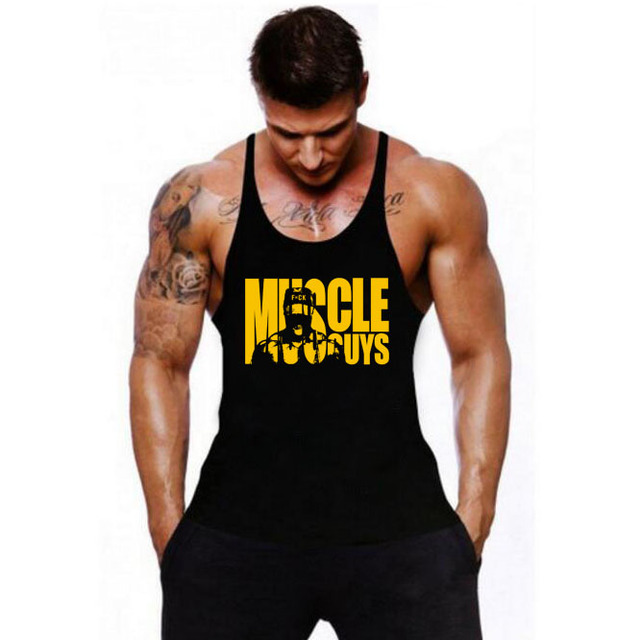 Muscleguys כותנה חדרי כושר גופיות גברים שרוולים Tanktops עבור בני פיתוח גוף גופיית בגדי כושר סטרינגר Vest