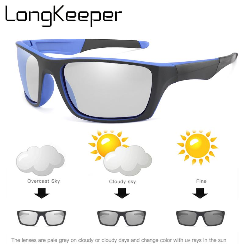 LongKeeper Classic Photochromic Sunglasses Men Women Square Polarized Sun glasses for Male Chameleon Glasses  Driver Goggles
