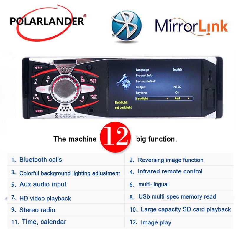 """Autoradio ラジオカセットプレーヤー 4.1 """"TFT HD 12V 1Din 車ラジオ USB SD AUX + カメラ MP3/ MP5/FM ステレオミラーリンク android"""