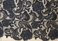 black lace fabric, crocheted lace fabric 1yard