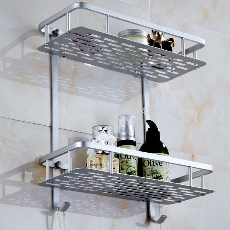 Aluminum Dual Tier Bathroom Shelf Rack with Hook strong sheet Design ...