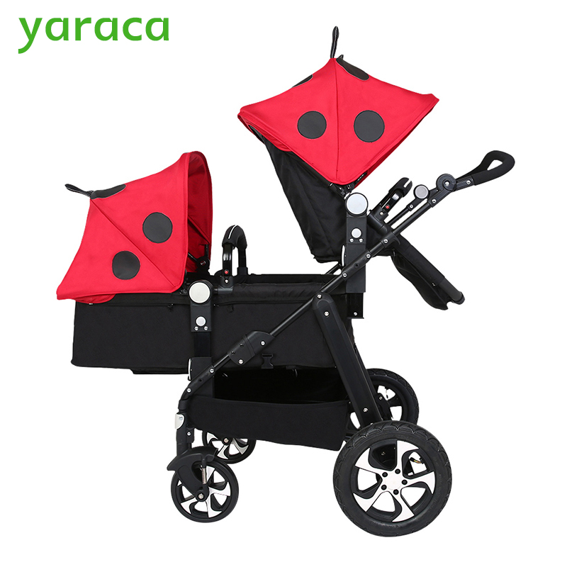 Twin Stroller Baby Carriage For Twins Prams For Newborns Cute Ladybug Panda Pattern Pram Twins Lightweight Double Strollers big space twins prams for children 0 4 years baby carrinho for twin with all cover sun canopy oxford fabric twin baby carrier