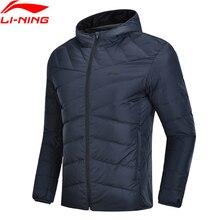 Li-Ning мужской тренировочный пуховик с капюшоном, полиэстер, 90% белый утиный пух, 3D Подкладка, теплые спортивные пальто AYMN049 MWY304