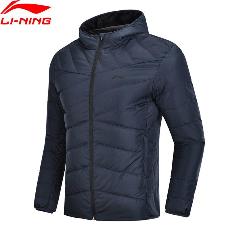 Li-Ning мужской тренировочный пуховик с капюшоном из полиэстера 90% белого утиного пуха с 3d-подкладом, теплые спортивные пальто AYMN049 MWY304