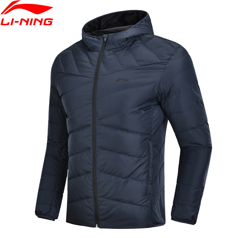 Li-Ning Men Training Down Jacket Hooded Polyester 90% White Duck Down 3D Fitting Li Ning LiNing Warm Sports Coats AYMN049 MWY304
