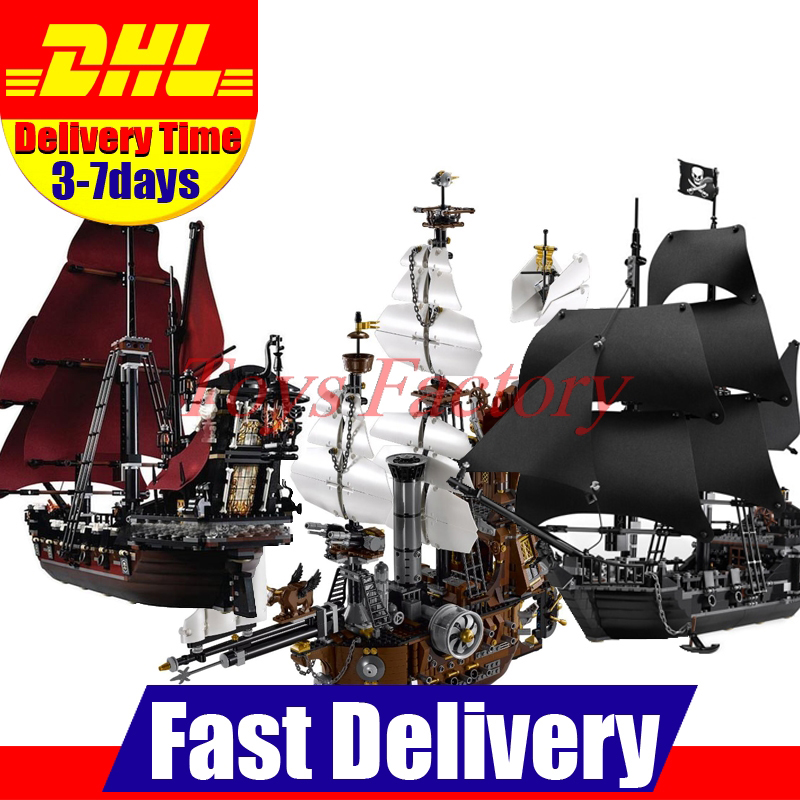 LEPIN 16009 Caribbean Queen Anne's Reveage +16002 Metal Beards Sea Cow + 16006 Black Pearl Ship Bricks Toy Clone 4195 70810 4184 lepin 16002 pirate ship metal beard s sea cow model building kit block 2791pcs bricks compatible with legoe caribbean 70810