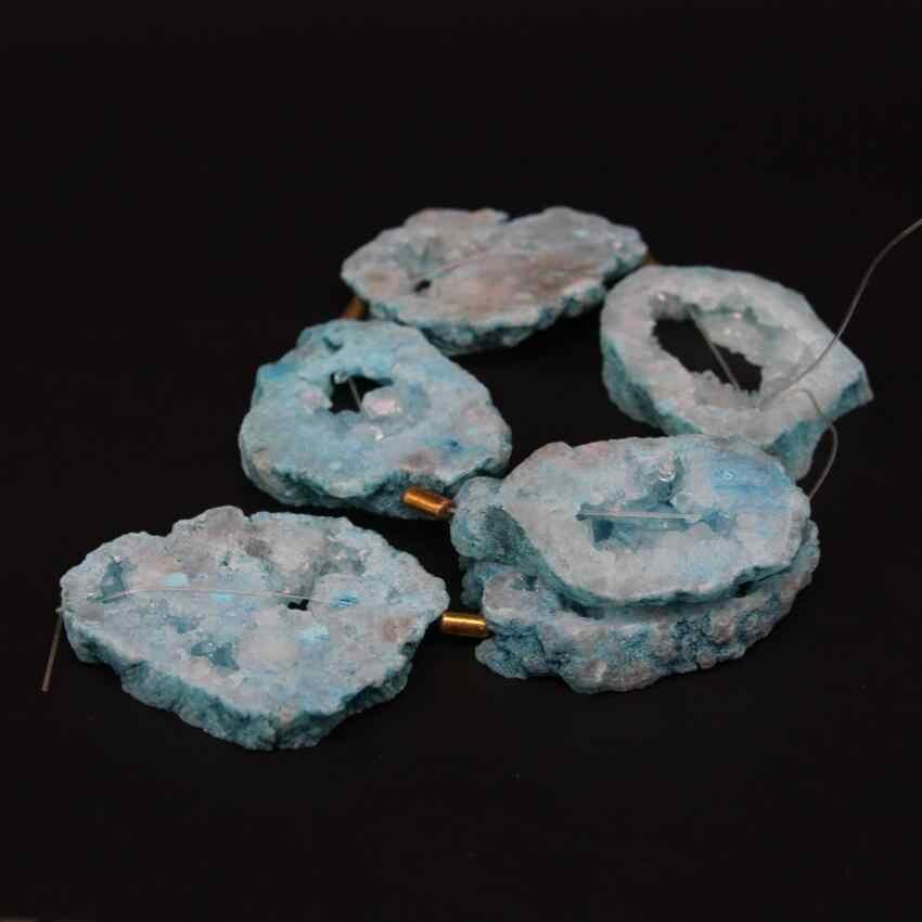 Light Blue Natural Roug Quartz Geode Druzy Freeform Rectangle Slab Nugget Beads,Full strand Raw Crystal Drusy Slice Pendant Jewelry