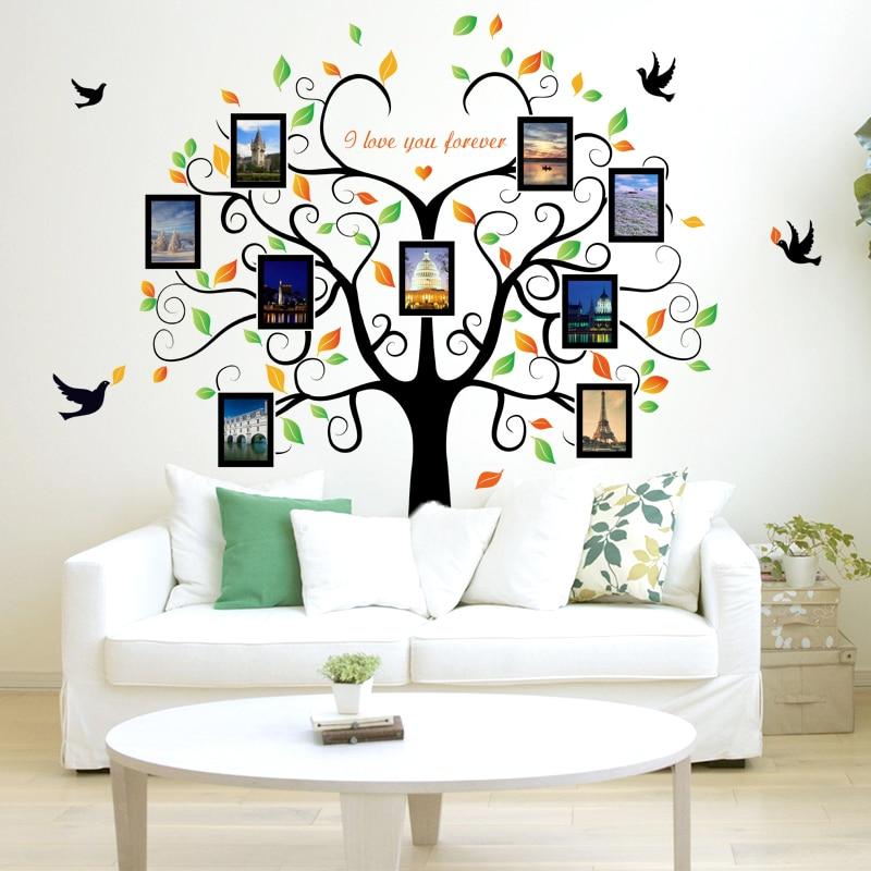 2 piezas negro foto del árbol familia bricolaje marco vinilo pared ...