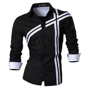 Image 5 - Jeansian hommes chemises habillées décontracté élégant à manches longues concepteur bouton vers le bas coupe mince Z014 blanc