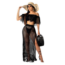цена на Sexy Transparent Knit Grid Women Set Vintage Tassel Crop Top High Slit Long Skirts Two Piece Set Casual Off Shoulder Beach Set