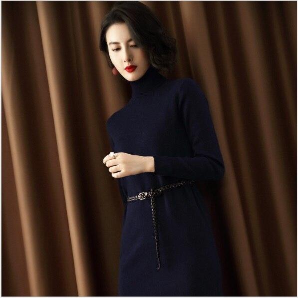 Robe Marine Laine Et Longues Robes Roulé Bleu Mode 2018 Vêtements Automne Femmes De À Tendance Européen Manches Col Slim Femelle Américain gHqOw