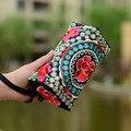 Retro nacional das Mulheres Saco Dia Cluth Sacos de Lona Mulheres Bolsa Bordados de Flores 3 Camada Zíper