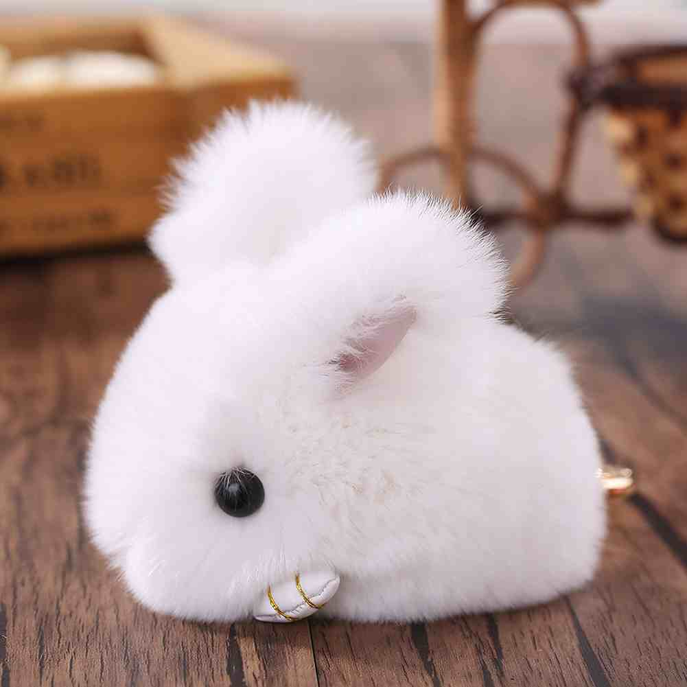Super Cute MIni Rabbit Faux Fur Pompom Ball Bunny Doll Keychain Keyring Handbag Pendant Decor Gift