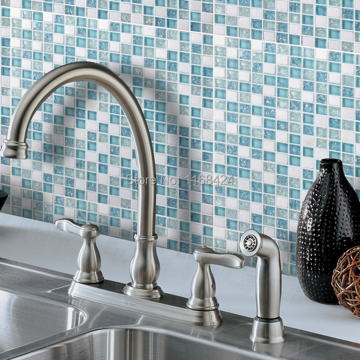 Square Crackle Glass Mixed White Stone Blue Color Tiles For Fireplace  Kitchen Backsplash Tile Bathroom Shower Tile In Wall Stickers From Home U0026  Garden On ...