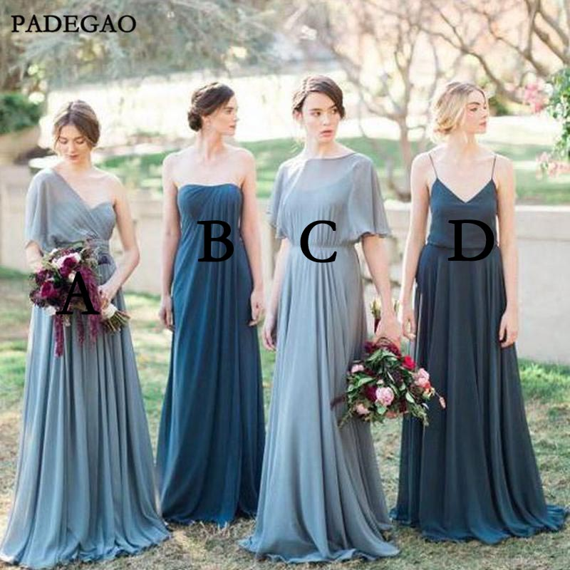 Simple   Bridesmaid     Dresses   A-Line Floor-Length Mismached Chiffon Weeding Party Cheap   Bridesmaids     Dresses   Prom Custom Made