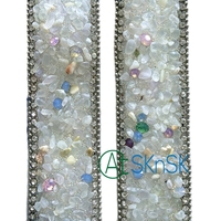1Meter/Lot 3.5cm*50cm Rhinestone Beads Lace Ribbons Vintage Lace Trim for DIY Decorative Clothing Belt Sew on Handmade Patchwork