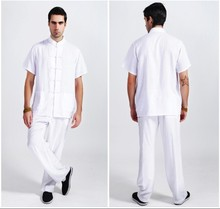 White Tradition Chinese Style Men's Linen Kung Fu Sets Shirt Pants Trousers Suit Size M L XL XXL XXXL Free Shipping 2350-8