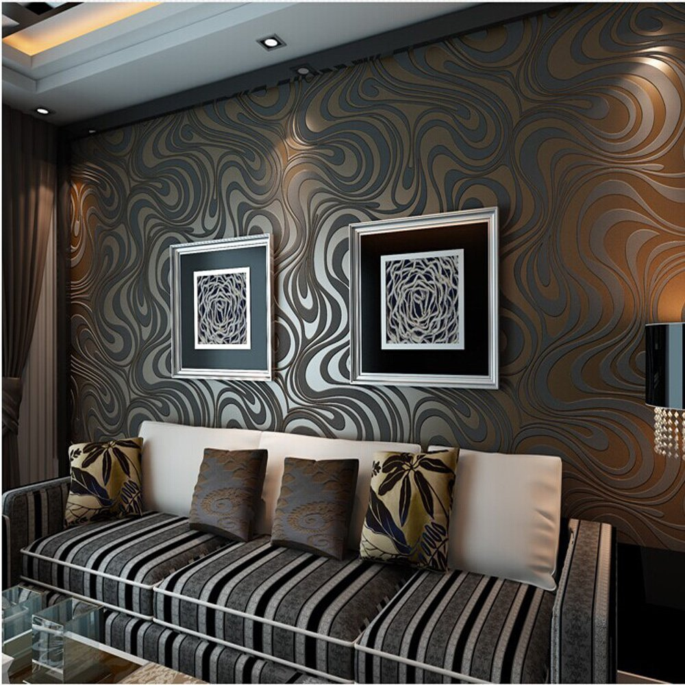 Q QIHANG 3D Abstract Curve Luxury Flocking Striped Wallpaper Black&Brown 0.7m*8.4m=5.88m2 luo q brown 43