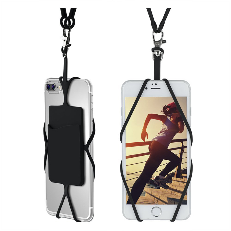 2X Universal Silicon Necklace Lanyard phone Case For sumsung S7 S8 S9 xiaomi mi6 redmi a5 honor10 Neck string card holder pounch ...