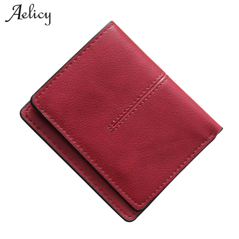 Aelicy pu leather solid wallet female purse wallet female famous brand card holders 2017 new design short hasp women's purses lovely new style wallet women short girls purses card holders wallet long solid with inlaid pearls pattern wallet designer500862