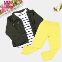 MUQGEW 1Set Kids Toddler Girls Warm Long Sleeve T-Shirt Tops+Coat+Pants Clothes Outfits boutique kids clothing ropa mujer terno