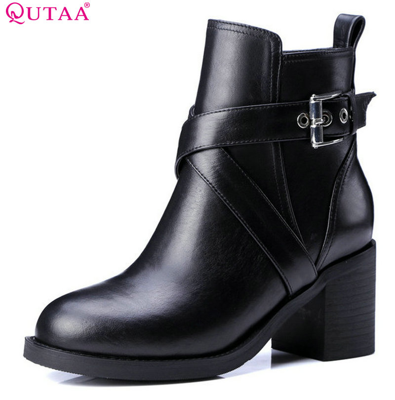 QUTAA 2018 Cow Leather Women Ankle Boots Fashion Square High Heel Round Toe Zipper Deisgn Women Motorcycle Boots Size 34-39 vinlle women boot square low heel pu leather rivets zipper solid ankle boots western style round lady motorcycle boot size 34 43